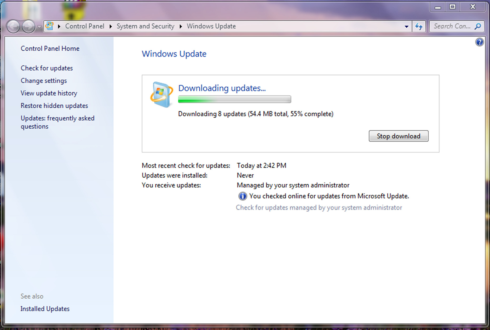screenshots of windows updates