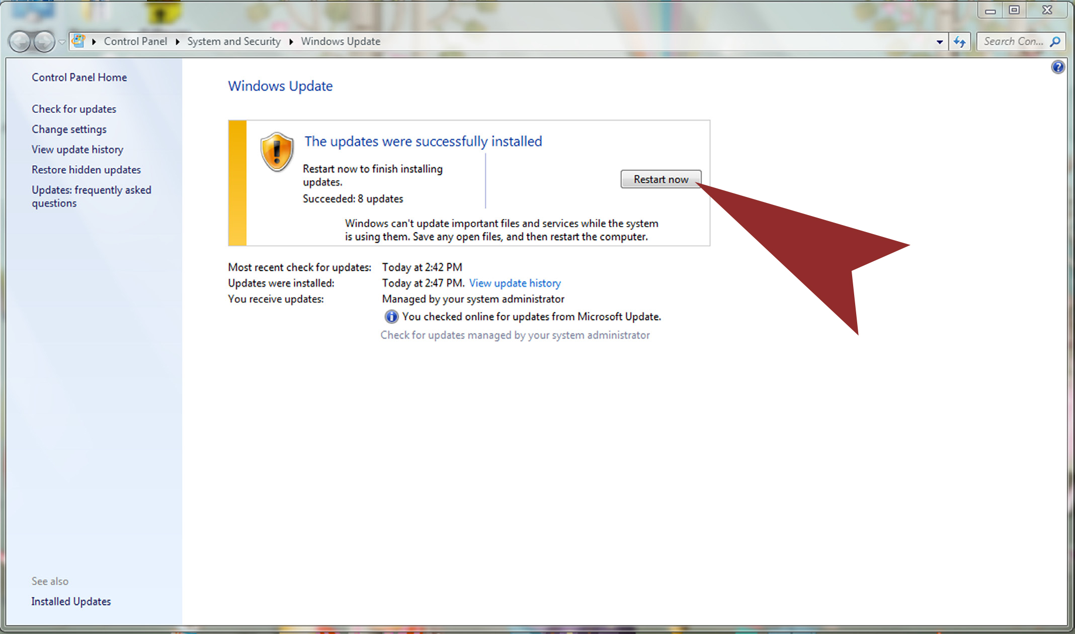 screenshot of windows update
